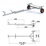 Прицеп для перевозки надувной лодки ПВХ и РИБ 3,5-4,0м, весом до 150 кг (Алюминий)